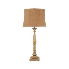 Liberty Antique White Table Lamp, Burlap Shade