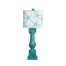 Alabama Wood Table Lamp Turquoise Starfish Shade