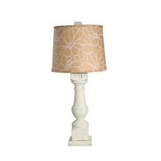 Alabama Wood Table Lamp White Crackle Burlap Shade