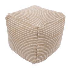 """Tan Wool And Cotton Pouf (18""""X18""""X18"""")"""