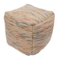 "Multi Wool and Cotton Pouf (18""x18""x18"")"