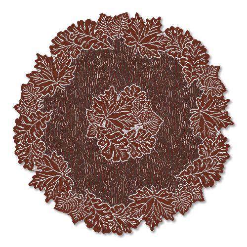 "Leaf 36"" Round Table Topper, Dark Papprika"