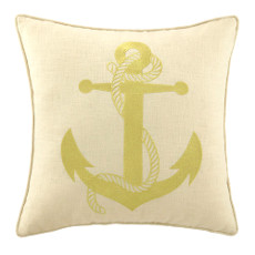 Anchor In Gold Embroidered Pillow