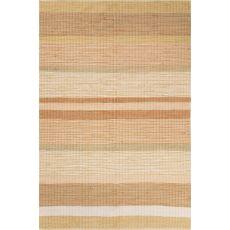 Flatweave Stripes Pattern Beige/Orange Cotton Area Rug (8X10)