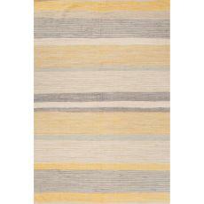 Flatweave Stripes Pattern Yellow/Gray Cotton Area Rug (8X10)