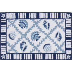"Navy Blues Polyester Rug, 22""X34"""