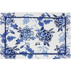 "Blue Floral Repeat Polyester Rug, 22""X34"""