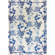 Blue Floral Repeat Polyester Rug, 5'X7'