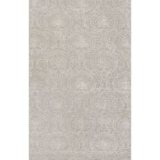 Classic Damask Pattern Gray/Ivory Wool and Art Silk Area Rug (9x12)