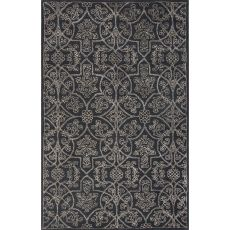 Classic Oriental Pattern Black/Taupe Wool And Art Silk Area Rug (9X12)
