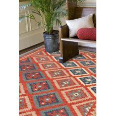 Flatweave Tribal Pattern Red/Blue Wool Area Rug (9X12)