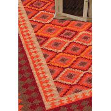 Flatweave Tribal Pattern Orange/Red Wool Area Rug (9X12)