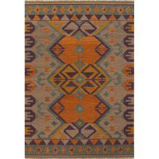 Flatweave Tribal Pattern Orange/Purple Wool Area Rug (9X12)