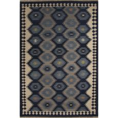 Flatweave Tribal Pattern Blue/Gray Wool Area Rug (9X12)