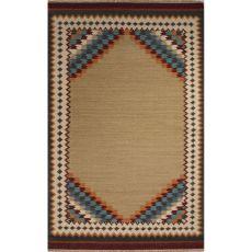 Flatweave Tribal Pattern Tan/Red Wool Area Rug (8X10)