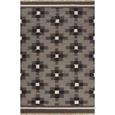 Flatweave Tribal Pattern Gray/Black Wool Area Rug (8X10)