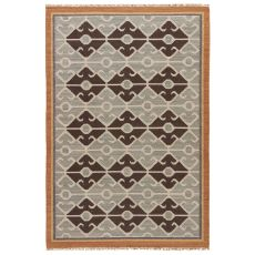 Flatweave Tribal Pattern White/Blue Wool Area Rug ( 8x10)