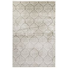 Contemporary Damask Pattern Ivory/Gray Bamboo Silk Area Rug (7.6X9.10)