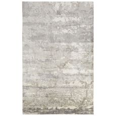 Contemporary Abstract Pattern Gray/Ivory Bamboo Silk Area Rug (7.6x9.10)