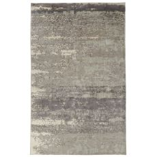 Contemporary Abstract Pattern Ivory/Gray Bamboo Silk Area Rug (7.6X9.10)