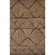 Contemporary Tribal Pattern Brown Wool Area Rug (8X11)