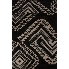 Contemporary Tribal Pattern Black/White Wool Area Rug (8X11)