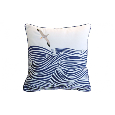 Albatross and Waves Pillow - Outdoor Sunbrella