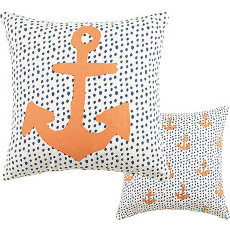 Anchor And Dot Canvas Pillow