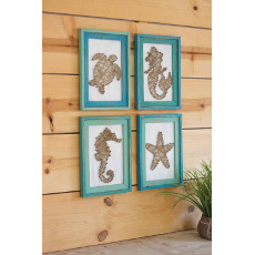 Assorted Framed Seaside String Art (set of 4)