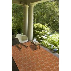 Indoor/Outdoor Tribal Pattern Orange/Ivory Polypropylene Area Rug (9x12)