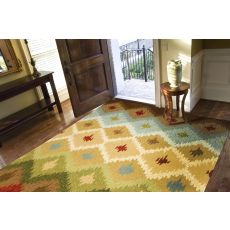 Indoor/Outdoor Tribal Pattern Ivory/Multi Polypropylene Area Rug (9X12)