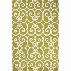 Indoor/Outdoor Trellis, Chain And Tile Pattern Green/Ivory Polypropylene Area Rug (7.6X9.6)