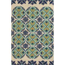 Floral & Leaves Pattern Polypropylene Barcelona I-O Area Rug