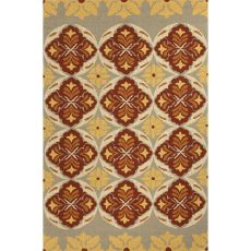 Indoor/Outdoor Floral & Leaves Pattern Red/Yellow Polypropylene Area Rug (7.6X9.6)