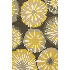 Indoor/Outdoor Floral & Leaves Pattern Yellow/Gray Polypropylene Area Rug (7.6X9.6)