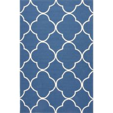 Indoor/Outdoor Trellis, Chain And Tile Pattern Blue Polypropylene Area Rug (7.6X9.6)