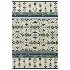 Indoor-Outdoor Trellis, Chain & Tiles Pattern White/Blue Polypropylene Area Rug ( 7.6X9.6)
