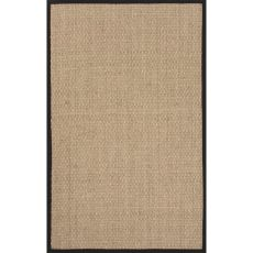 Naturals Solid Pattern Ivory/Black Seagrass Area Rug (7.6X9.6)