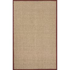 Naturals Solid Pattern Ivory/Red Seagrass Area Rug (7.6X9.6)