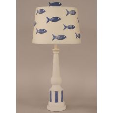 Fish Themed Striped Pedestal Accent Lamp School of fish shade