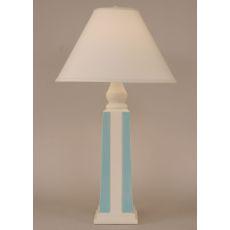 Coastal Lamp Pyramid Stripe Pot - Weathered Nude/Turquise Accent
