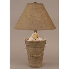 Coastal Lamp Bucket Of Shells - Heavy Distressed Grey