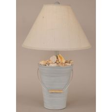 Coastal Lamp Bucket Of Shells - Cottage Seaside Villa