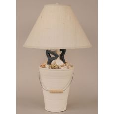 Coastal Lamp Bucket Of Shells W/ Shovel Handles
