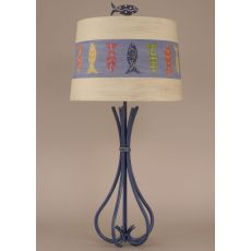 5 Leg Iron Table Lamp W/ Fish Shade And Finial