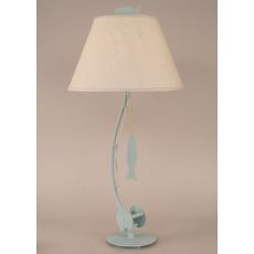 Coastal Lamp Sea Fishing Pole Table Lamp - Weathered Atlantic Grey