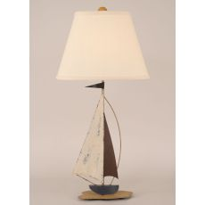 Coastal Lamp Iron Sail Boat Accent Lamp - Distressed Nautical
