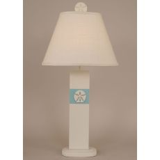 Coastal Lamp Sand Dollar Panel Table Lamp - Weathered Nude/Turquoise Sea