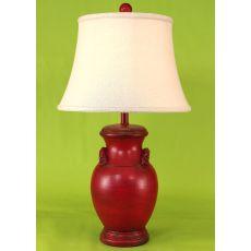Coastal Lamp Crock Pot W/ Handles - Aged Brick Red