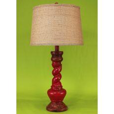 """Coastal Lamp """"B"""" Pot W/ Twist - Aged Brick Red"""